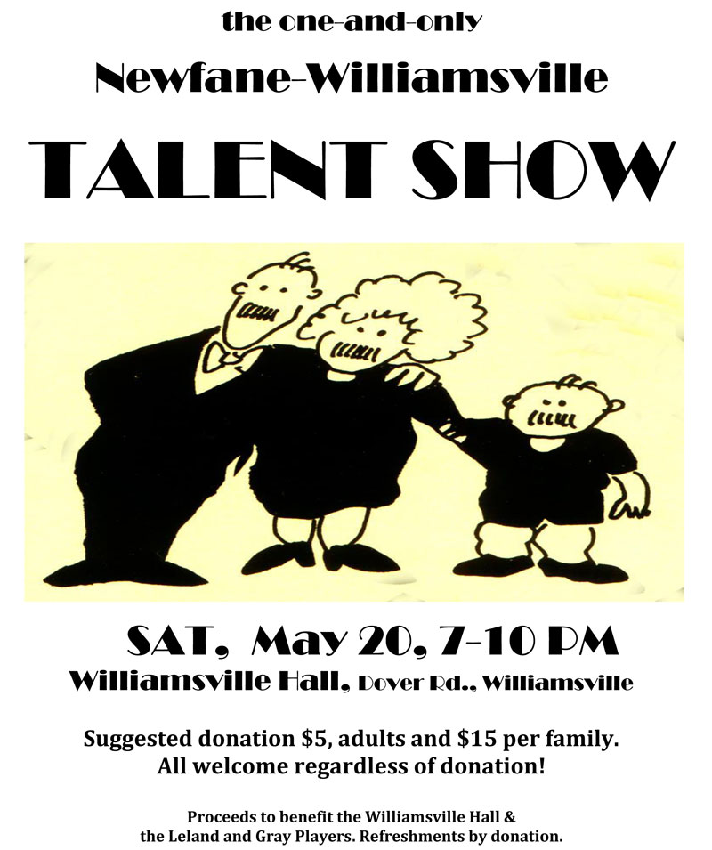 Annual Newfane-Williamsville Talent Show: May 20 at 7PM